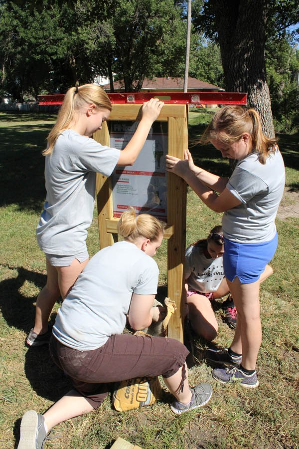 Team of young volunteers add fit trail to city park
