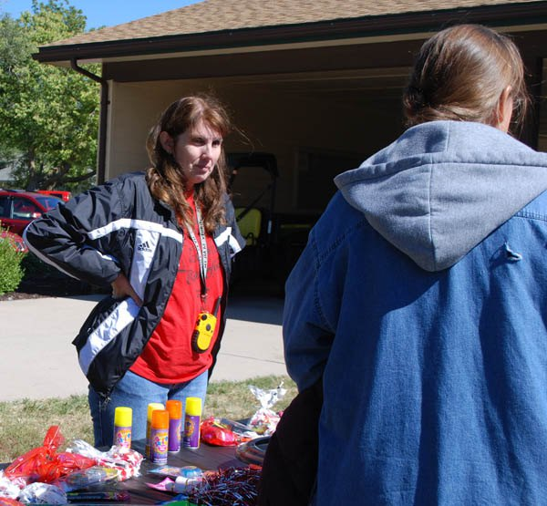 Lincolnville Mayor Barb Kaiser hands out prizes during one of many activities Saturday during Octoberfest.