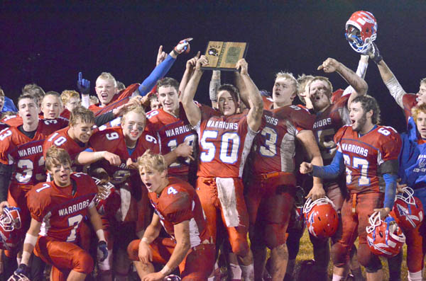 The MHS football team won a Class 3A bi-district championship last fall. Next fall, Marion football will compete in  Class 2A as a result of declining enrollment.