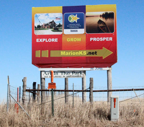This is one of the five new highway billboards erected in January 2014 promoting Marion as an E-community. ?For over 10 years, the city of Marion has had signs stating ?the town between two lakes,?? City Administrator Roger Holte said. ?Now it states, ?Explore, Grow and Prosper? as our campaign.""