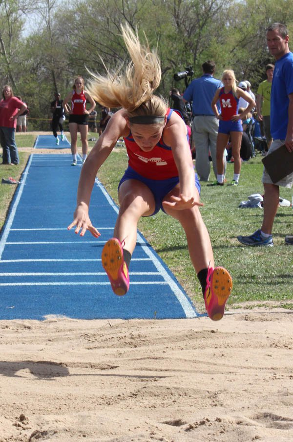 Marissa Jacobson won the triple jump at Halstead Friday with a leap of 34 feet, 11?2 inches. She also turned in two second-place finishes in long jump and the 400-meter dash to lead the Warrior girls in scoring with 26 points.