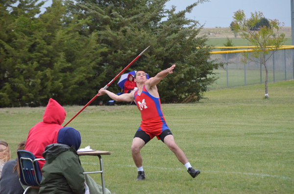 John Nordquist launches the javelin at the Heart of America league meet Friday. Nordquist placed second with a throw of 160 feet, 2 inches. Both the Marion boys? and girls? teams took second at the meet.