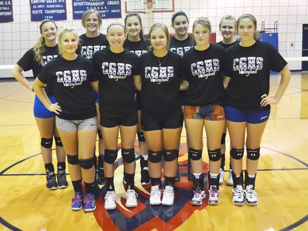 These seniors and letter-winners will form a solid core for the Canton-Galva volleyball team this season: front row (from left), Lexi Howard, Autumn Colgin, Kelli Nightingale, Sierah Nordstrom, Brittany Nordstrom; (back row) Zoe Unruh, Cassidy Enns, Caley Johnson, Emily Ballantyne, Rachel Becker.
