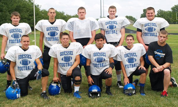 These seniors and letter-winners form the foundation for this year?s Goessel football team: front row (from left), Trevor Beisel, Matt Regier, Miguel Guerrero, Joshua Schmidt, Kenny Hammond; back row, Chase Flaming, Lucas Hiebert, Kellen Froese, Connor Davis, Luke Unruh.