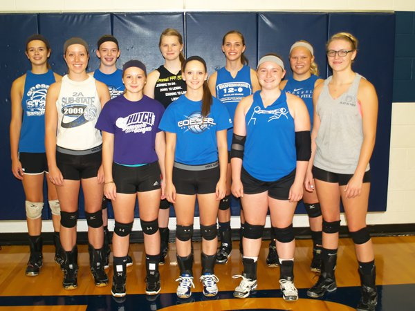 The Goessel volleyball squad seniors and letter-winners include: front row (from left), Alyssa Booton, Shelbi Stultz, Chelsey Stika, Makayla King, Gentry Thiesen; back row, Erin Brubaker, Olivia Duerksen, Alicen Meysing, Page Hiebert, Anna Wiens.