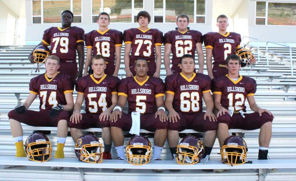 This group of seniors and returning letter-winners will form the nucleus of the Hillsboro High School football team this fall. Pictured are: top row (from left), Kentrell Miller, Grant Knoll, Josh Funk, Cody Craney, Jakob Hanschu; front row, Graham Pankratz, Jesse Meier, Justus Hilliard, Levi Mendoza, David Dick.