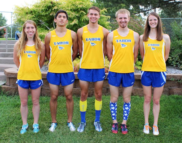 Five seniors will lead the Tabor College cross-country program this fall. Pictured are (from left) Hannah Holmes, Phillip Magos, Garrett Daugherty, Joel Allen and Jessica Vix.