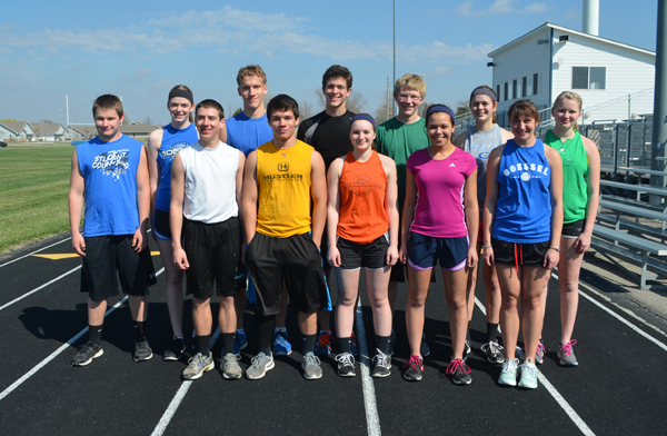These returning letter-winners and seniors will form the nucleus of the Goessel track and field team this season: back row (from left), Chase Flaming, Olivia Duerksen, Zach Wiens, Leighton Wagner, Jacob Rymill, Erin Brubaker, Jennifer Meysing; front row, Josh Schmidt, Miguel Guerrero, Shelbi Stultz, Aleena Cook, Rachel Manis.  Janae Rempel / Free Press