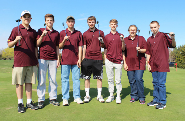 The Hillsboro golf team has seven members this spring: (from left) Colin Settle, Elias Werth, Alex Dalke, Phillip Ediger, Eliott Ollenburger, Shelby Johnson and Trace Jost. Don Ratzlaff / Free Press