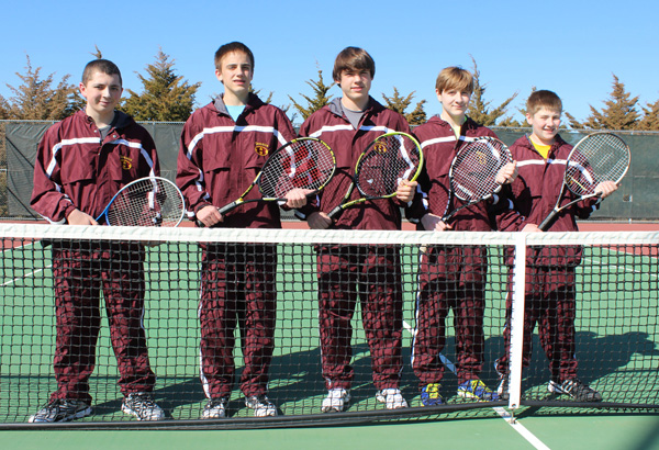 The Hillsboro tennis team includes five players this season under coach Stuart Holmes? tutelage. They are (from left) Dylan Wiens, Jacob Isaac, Josh Funk, Dakota Klein and Brandon Wiebe. Don Ratzlaff / Free Press