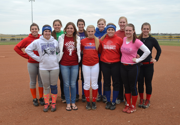 These seniors and returning letter-winners will anchor the Marion softball team this season: front row (from left), Reann Hamm, Bailey Robson, Shelby Felvus, Sam Davies, Sheridyn Arterburn; back row, Madison Stephen, Kayla Kroupa, Julia Hall, Shayla Kline, Elizabeth Meyer, Paige May. Janae Rempel / Free Press