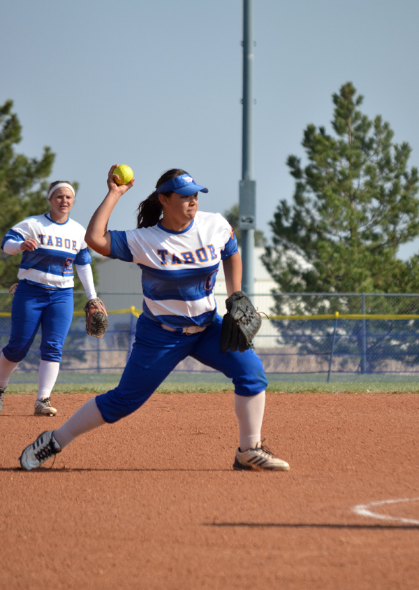 Third baseman Araselly Vargas makes the throw to first during Game 1 against Southwestern Tuesday. Vargas later hit a walk-off RBI single to give Tabor the come-from-behind, 6-5 victory.  Janae Rempel / Free Press
