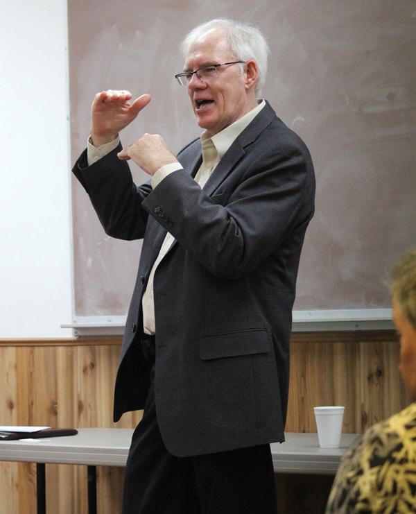 Rep. Don Schroeder describes the gap between budget proposals and current revenues. Don Ratzlaff / Free Press