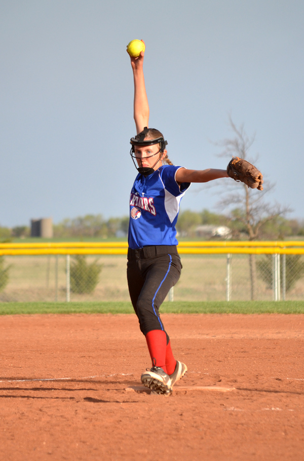 Emily Hague fires a pitch during Game 2 against Bennington. In her first varsity appearance, Hague pitched her first full game to earn the win, scattering six hits and six runs over five innings of work. She struck out three batters. Marion swept Bennington, 18-3 and 16-6. Janae Rempel / Free Press