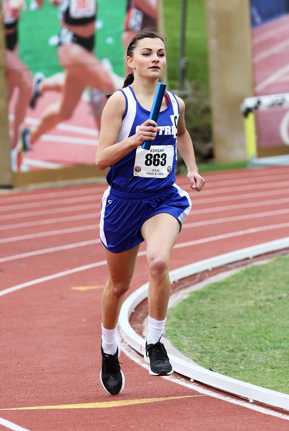 Centre?s Shelby Makovec anchors the 4x800-meter relay. She and teammates Lotti Benning, Nellie Kassebaum and Callie Riffel placed 12th in 11:16.90. They set the school record at regionals with a time of 10:46.84. Phyllis Richert Photo