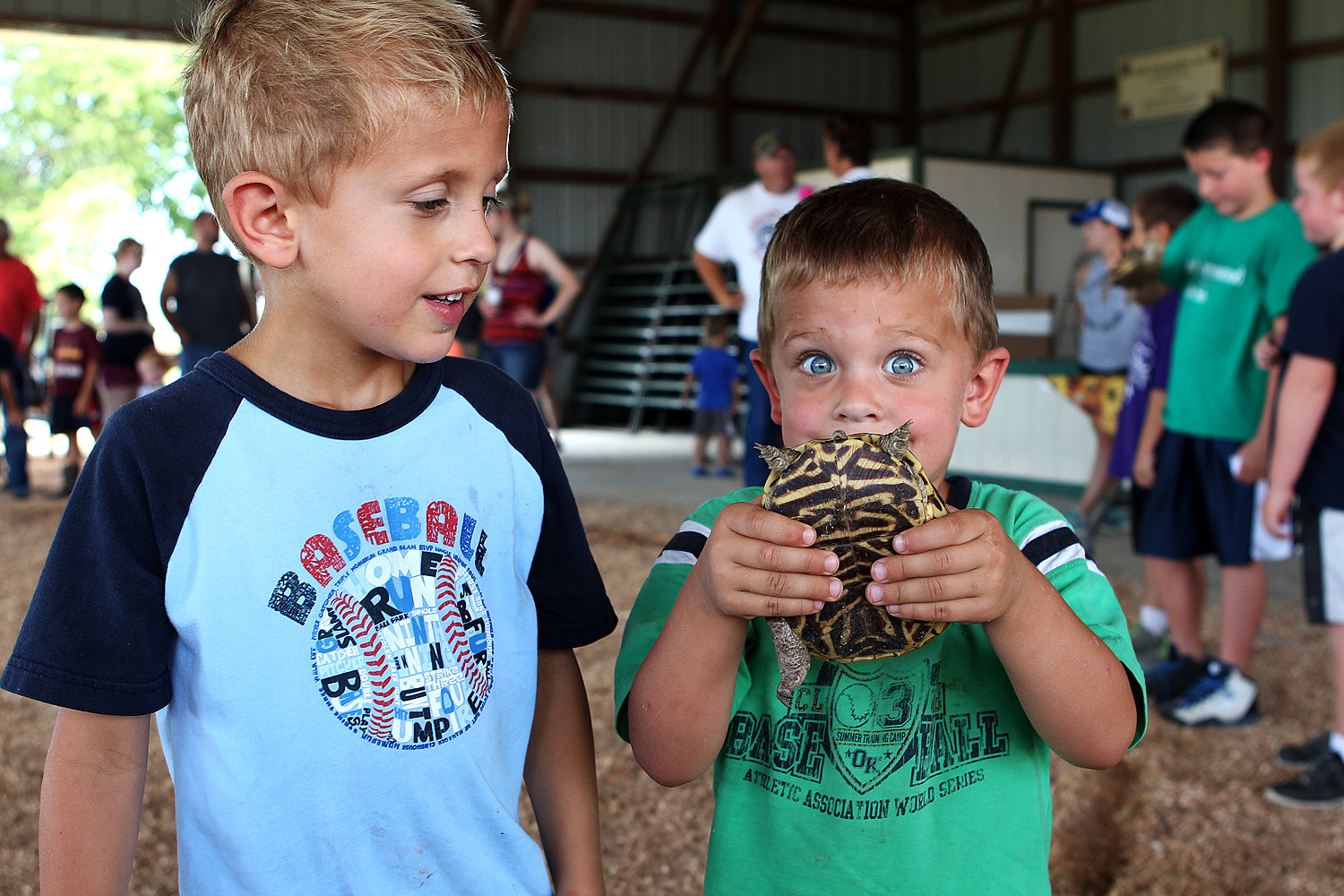 Blaine  Malik (left) and Blaine Nickel (right) show off the 2nd place turtle at the box turtle races at the Marion County Fair on Saturday. Phyllis Richert Photo