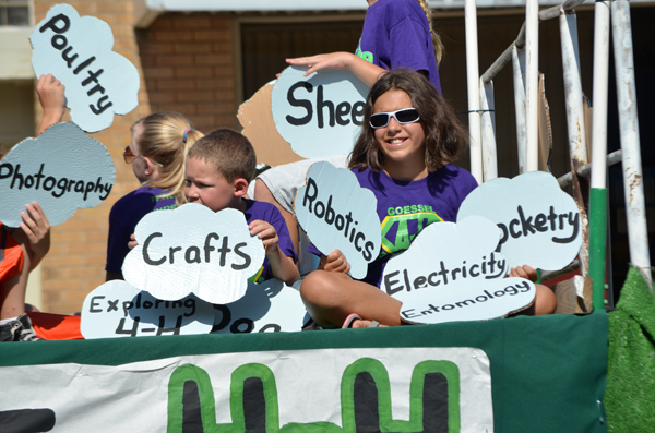 The Goessel Goal Getters claimed second place in the 4-H float competition in Saturday?s Marion County Fair parade. The South Cottonwood club claimed the top prize and the Tampa Triple T?s placed third. Janae Rempel / Free Press