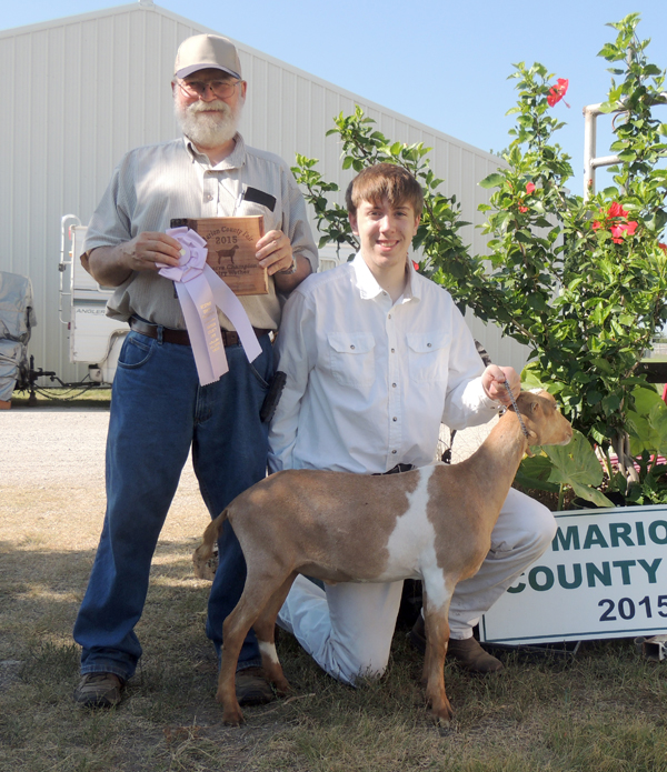 Ethan Dailey (right photo) showed the reserve grand champion dairy wether at this year?s Marion County Fair. Courtesy photo by Rickey Roberts