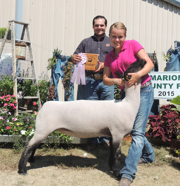 SaRae Roberts showed the reserve grand champion breeding ewe. The brother-sister duo are members of the South Cottonwood 4-H Club. Courtesy photo by Rickey Roberts