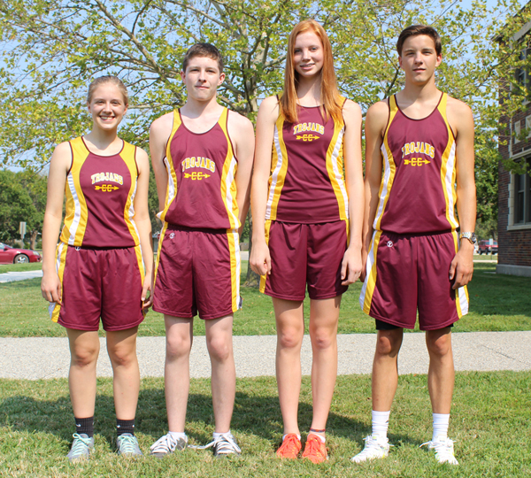 Hillsboro?s cross-country team will feature these letter-winners and seniors: (from left) Lydia Kliewer, Tristan Donaldson, Allison Maxfield and Jonathan Hinerman. Don Ratzlaff / Free Press