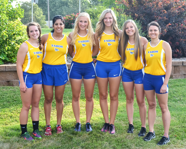Seven women will run for Tabor this fall: (from left) Katey Whitesell, Maggie Ramirez, Julie Loewen, Allie Jost, Kaylee Schmidt, Stacie Bell. Not pictured:?Casie Giffin. Janae Rempel / Free Press