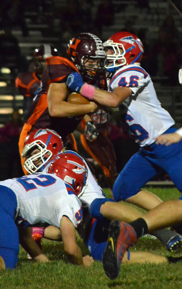 Garrett Hoffner tackles Herington?s Ethan Moorman-Meador for no gain during the first quarter.