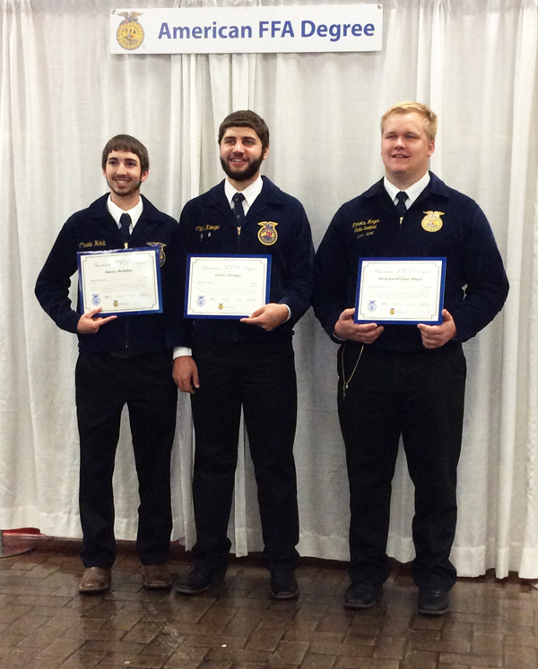 Three FFAers receive American degree during recent national convention