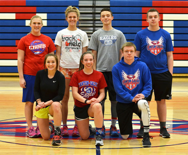 These seniors and letter-winners will anchor a young Canton-Galva track and field team this season: front row (from left), Katie Fiedler, Whitney Nightingale, Dylan Wood; back row, Kaylee Littrell, Maddie Snow, Dawson Minson and David VanHouton.