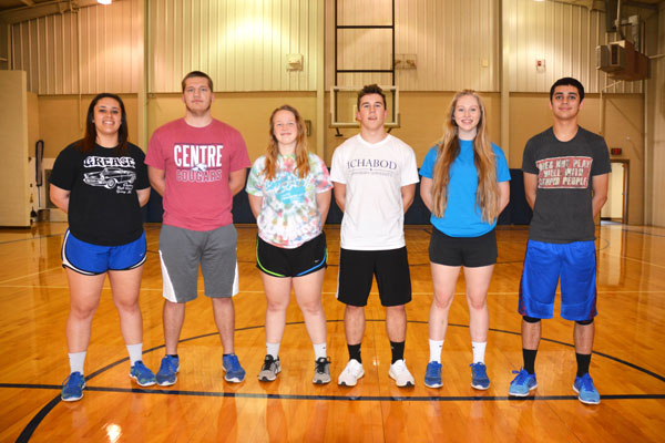 These seniors and letter-winners will anchor the Centre track and field team this season: (from left) Summer Espinoza, Brendon Bina, Katie Marler, Max Svoboda, Kate Basore, Xavier Espinoza.<p>