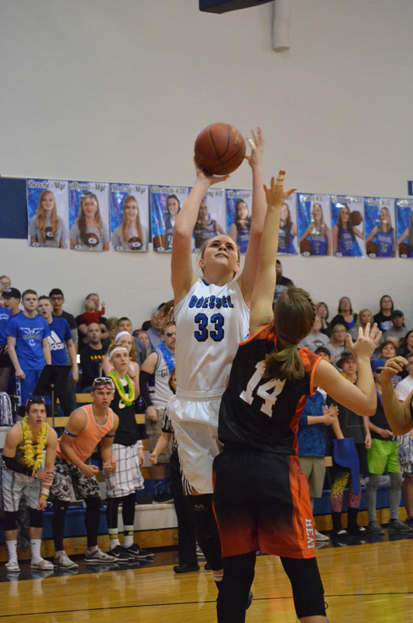 Brittney Hiebert shoots over a Rural Vista defender during the first half of Saturday's title game. Hiebert scored eight points in Goessel's 42-39 loss.