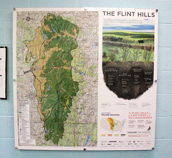 This 4-foot by 4-foot map of the Flint Hills is posted in the hallway at Hillsboro Elementary School. The map and accompanying teaching resources is a project of the Flint Hills Discovery Center in Manhattan with funding from corporate and private donations.