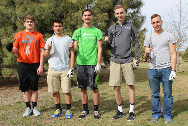 Goessel golf coach Chad Linde­man has a core of five seniors and returning letter-winners this season. Pictured from left are: Braden Roby, Miguel Guerrero, Carson Sterk, Rhett Makovec and Trevor Beisel. Roby, Sterk and Makovec played on the Class 1A state-qualifying team, which placed ninth.