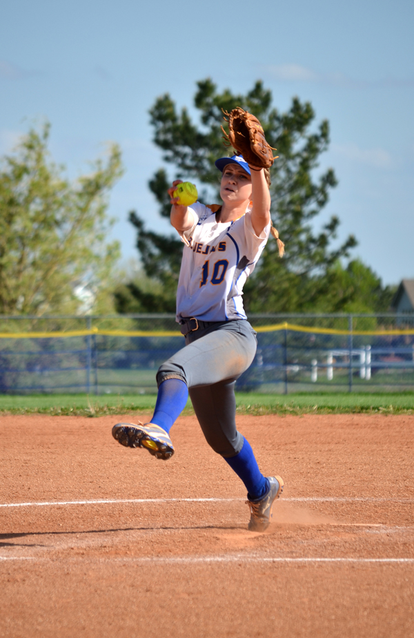 Madison Byrd tosses a pitch during Game 1 against Bethany Wednesday. Byrd absorbed the pitching loss despite striking out nine Swedes and scattering three hits and one unearned run over seven innings on the mound in Tabor's 1-0 loss.