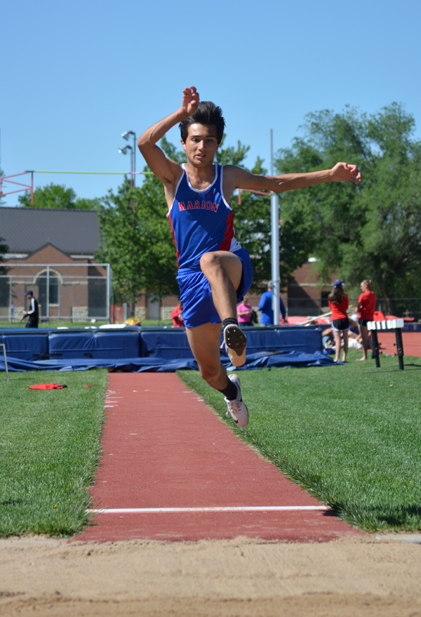 Tyler Arocha won the long jump (19-4), placed second in the 400 (53.14) and finished fourth in the 100 (11.81). Also earning gold medals for Marion were Colin Williams in the 1,600 (4:50.21) and Bryce Shults in the pole vault (13). As a team, the Marion boys won the league title.