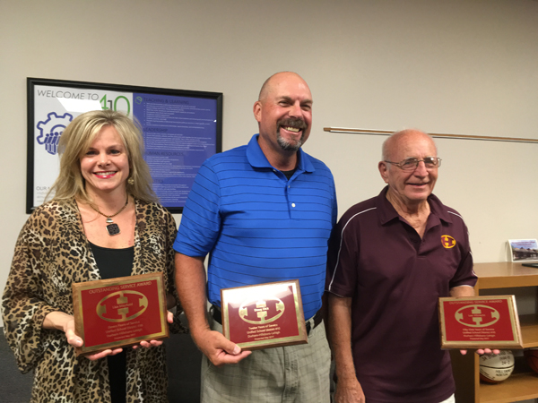 Three USD 410 staff feted for service