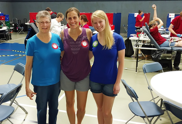 "Three generations from a local family contributed blood at the Aug. 14 drive. Pictured are Charlotte Haga­man, daughter Jamie Driggers and granddaughter Abigail Driggers. ""Charlotte has been a long-time faithful donor and Jamie and Abigail are continuing in her footsteps,"" Staci Silhan said. ""Abigail has been waiting to be old enough to donate and she came to the first drive she could.""<p>"
