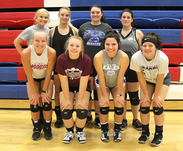 Seniors and letter-winners returning for the 2017 volleyball season are: front row (from left) Tia Moddelmog, Ashley Nightingale, Kaysha Unruh, Nicole Casebeer; back row, Alex Koehn, Grace Klinkerman, Paige Craney, Lynly Bridwell.