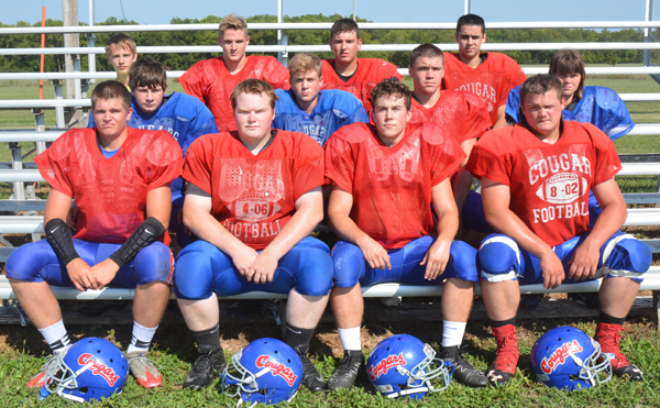 The Centre football team is comprised of these athletes: (front row, from left) Cody Svoboda, Jacob Bittle, Max Svoboda, Kyle Naerebout; (middle row) Lane Methvin, Aidan Svoboda, Jensen Riffel, Kelsey Hett; (back row) Matthew Madron, Braxton Smith, Dalton Stika, Xavier Espinoza. Not pictured: Corden Minor, Tanner Peterson, Troy Jones.