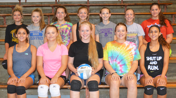 These athletes comprise the 2017 Centre volleyball team: (front row, from left) Alyssa Espinoza, Jayden Hallowell, Kate Basore, Emily Schlesener, Samantha Espinoza; (back row) Gracie Luna, Emma David, Lacey Wingerd, Emily Silhan, Cailey Barney, Grace Knepp, Athena Salamone. <p>