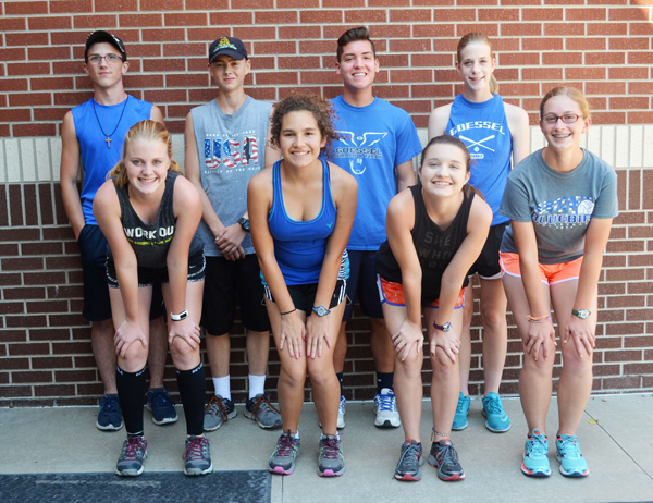 These returning letter-winners and seniors will anchor the Goessel cross-country team this season as the Bluebird girls seek to defend their Class 1A state title, and the boys, who will have one of the larger teams in recent history, seek a state berth: (front row, from left) Porclein Unruh, Elyse Boden, Julia Nightengale, Edel Miller; (back row) Brody Schroeder, Nate Impson, Zack Guerrero, Maddy Meier.