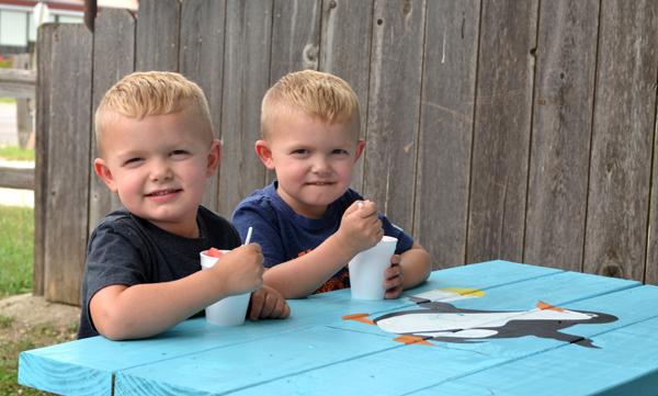 Colton Bartel (left) and Brently Bartel, 4-year-old sons of Dallas and Kimberly Bartel of Hillsboro, enjoy their tasty snow cones at The Igloo on Thursday.