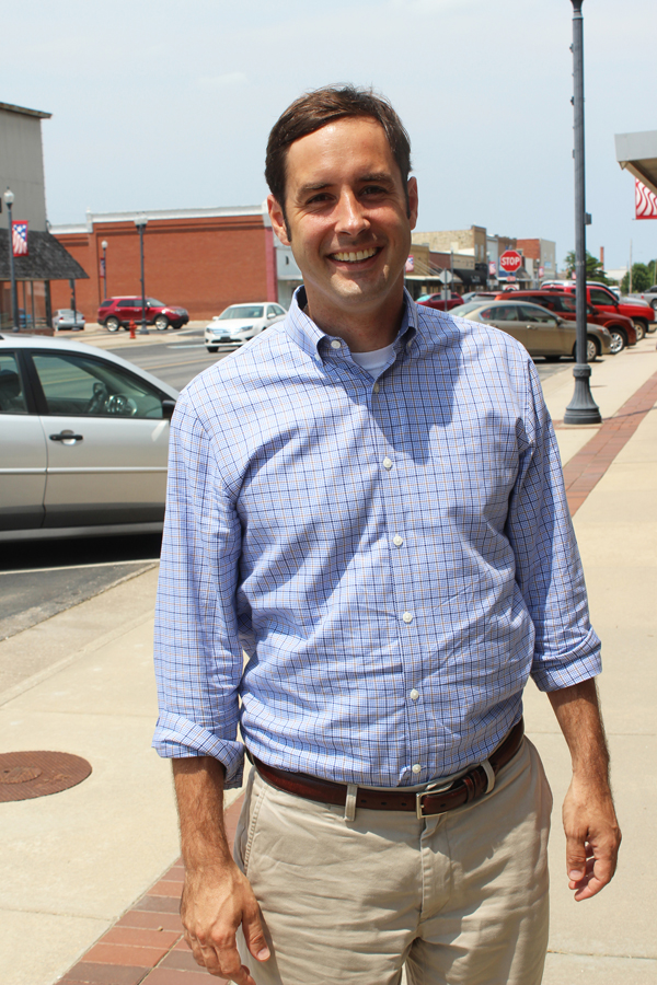 Democrat Josh Svaty, former Kansas Secretary of Agriculture from Ellsworth, made stops in Marion County earlier this month as part of his 105-county tour of Kansas as he seeks to be elected governor in 2018.