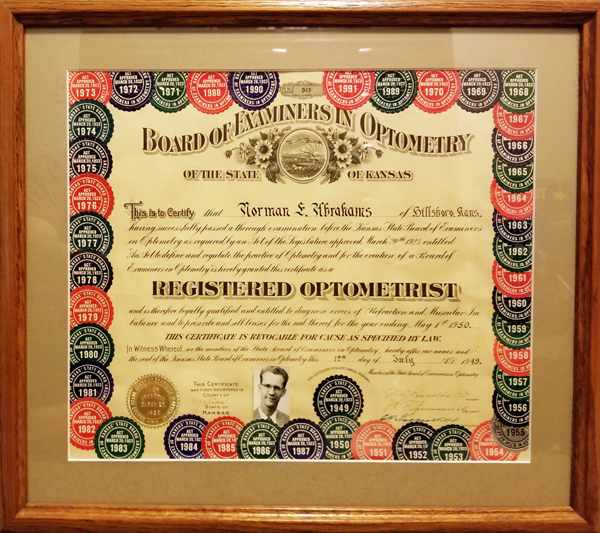 """Mark Abrahams shared this picture of his grandfather's Doctor of Optometry license. """"Grandpa was definitely a really big influence there,"""" Abrahams said about his decision to study optometry. """"He didn't push me too much, but he always encouraged me to think about it."""""""