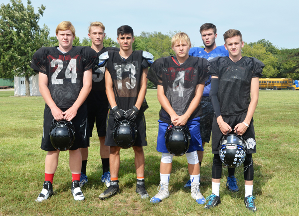 These seniors and returning letter-winners will form a solid core for the Peabody-Burns football team this season: (from left) Tyler Entz, Bailey Penner, Rocco Werts, Jess Philpott, Matthew Montigny, Bryant Young.