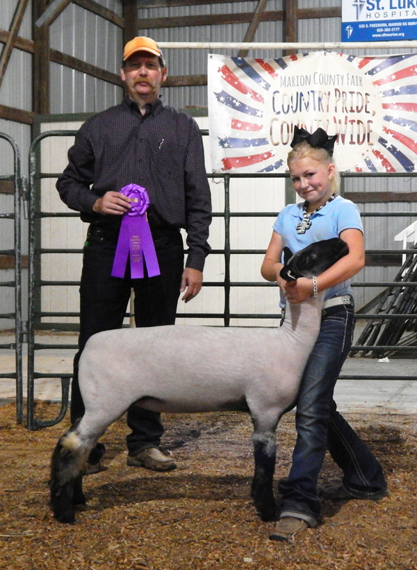 Zach Barney (top photo) of the Tampa Triple T's showed the grand champion market lamb and Calleigh Soyez (above) of the Happy Hustlers club showed the grand champion breeding ewe.