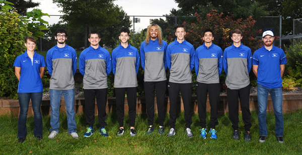 These athletes comprise the Tabor College men's cross-country team this season: (from left) assistant coach Brielle Lund, Austin Weaver, Riley Ballou-Lyngstad, Thomas Bacon, Collin Bruske, Jonathan Hinerman, Garrett Kinsey, Alex White, head coach Joel Allen.