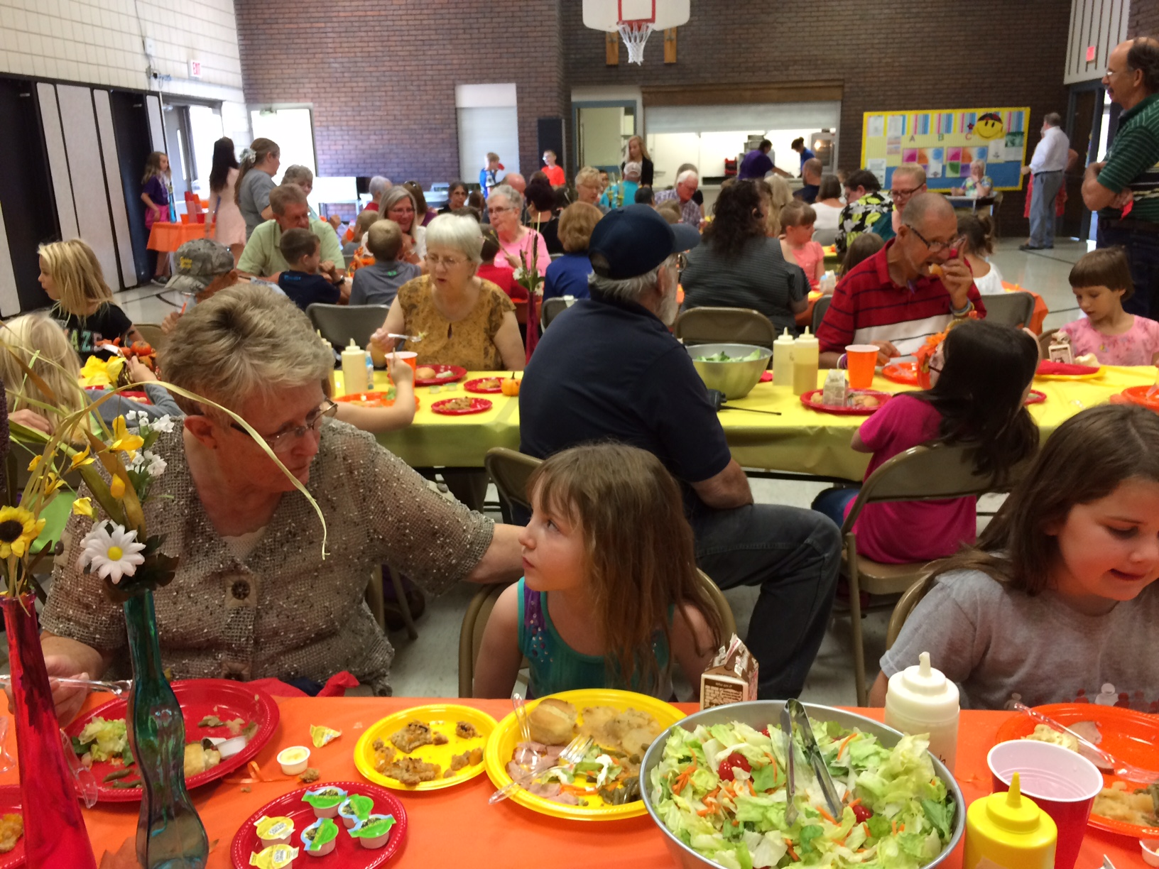 Students at Peabody Elementary School invited their grandparents to have lunch in the cafeteria with them. After lunch, the grandparents spent time in the classroom working on a special craft for Grandparents' Day, which was celebrated Sunday.