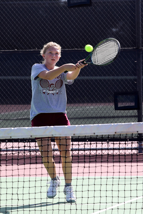 Hillsboro sophomore Cheyenne Bernhardt returns volley at the Class 3-2-1A regional tournament at the Hillsboro Sports Complex. She and freshman Kyla Isaac qualified for state by placing fourth.