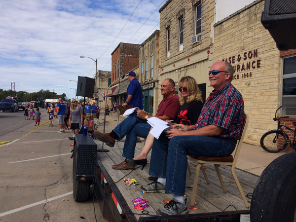 This year's judges included David Mueller of Tampa and Commissioner Dianne and Kelly Novak of rural Marion. Casey Case, in background, was the emcee for the parade.