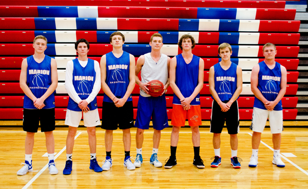 These seniors and returning letter-winners will bring experience and leadership to the court this season for the Marion boys' basketball team: (from left) Eli Hett, Sam Zinn, Chase Stringer, Zachary Stuchlik, Noah Dalrymple, Colin Williams, Evann Heidebrecht. Not pictured: Blaine Mermis.